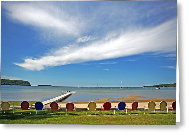 Sturgeon Bay Greeting Cards - Seat with a view Greeting Card by Ty Helbach