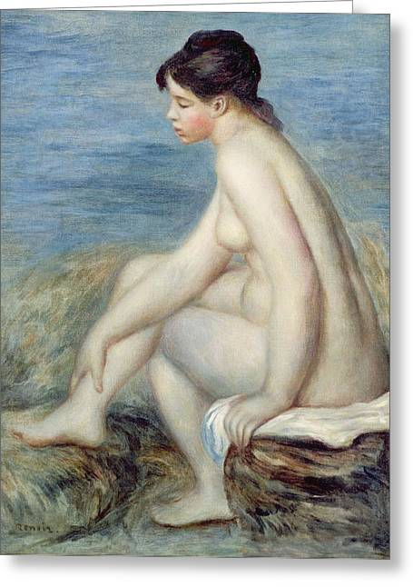 Beach Towel Paintings Greeting Cards - Seated Bather Greeting Card by Renoir