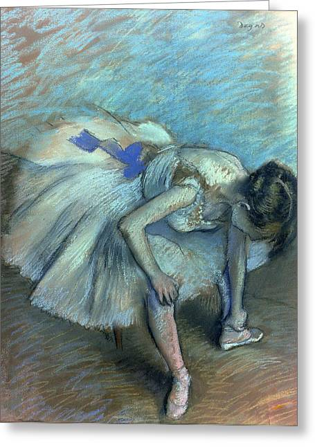 Ballerinas Pastels Greeting Cards - Seated Dancer Greeting Card by Edgar Degas