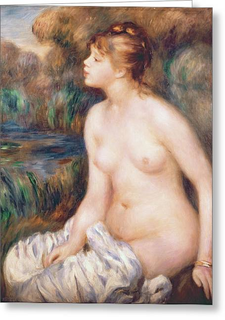 1891 Greeting Cards - Seated Female Nude Greeting Card by Renoir
