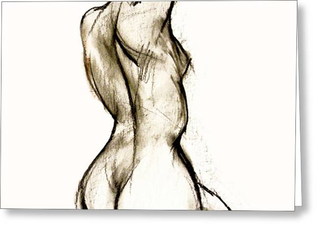 Seated female Nude Greeting Card by Roz McQuillan