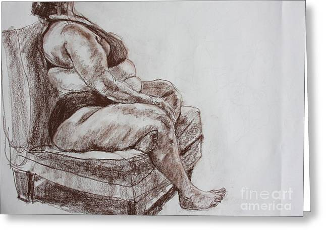 Clothed Figure Drawings Greeting Cards - Seated Figure Greeting Card by Jan Bennicoff