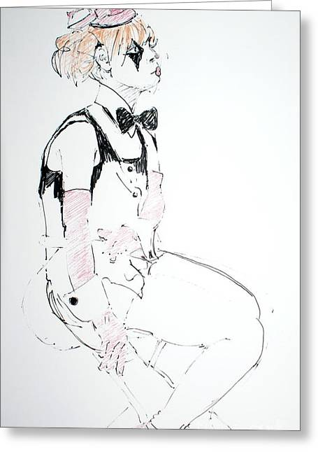 Clowns Drawings Greeting Cards - Seated lady clown Greeting Card by Joanne Claxton