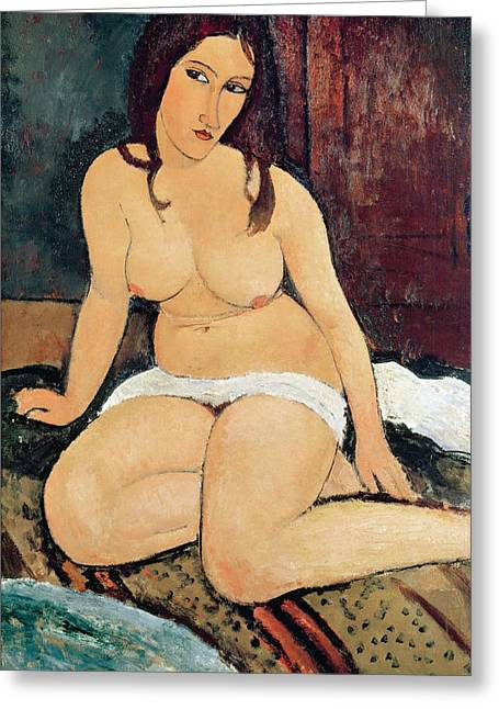 1920 Greeting Cards - Seated Nude Greeting Card by Amedeo Modigliani