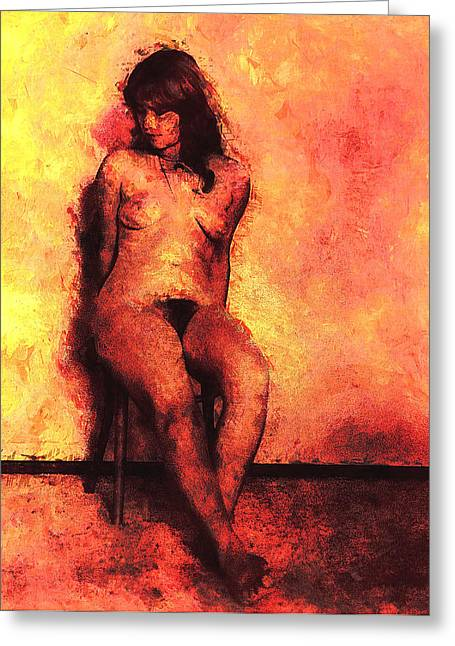 Frontal Nude Greeting Cards - Seated Nude Greeting Card by Carl Rolfe