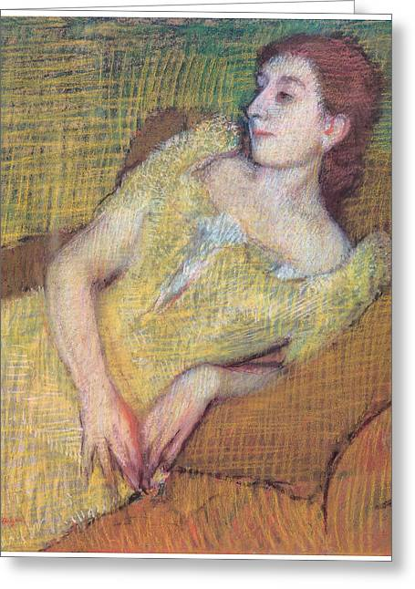 Woman In A Dress Pastels Greeting Cards - Seated Woman in a Yellow Dress Greeting Card by Edgar Degas