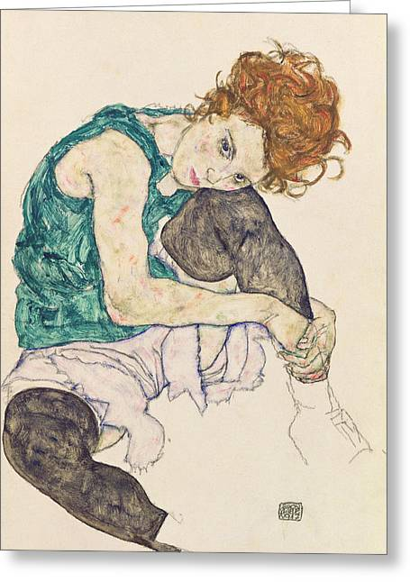 Red And Black Greeting Cards - Seated Woman with Bent Knee Greeting Card by Egon Schiele