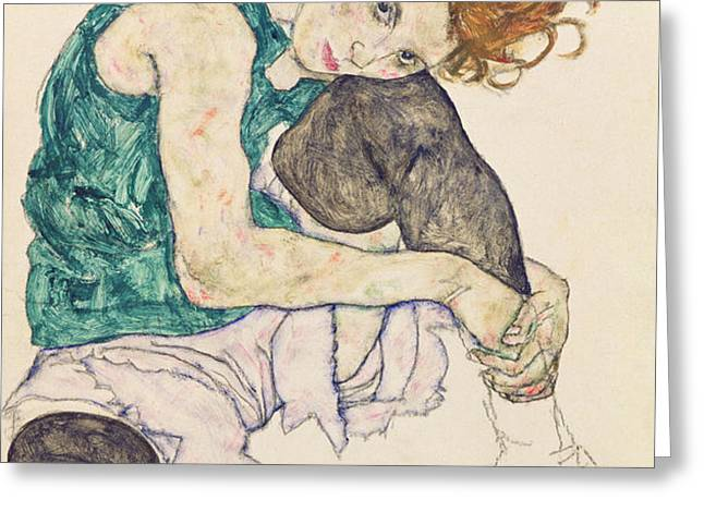 Seated Woman with Bent Knee Greeting Card by Egon Schiele