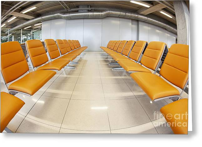 Empty Eyes Greeting Cards - Seating at Airport Gate Greeting Card by Don Mason