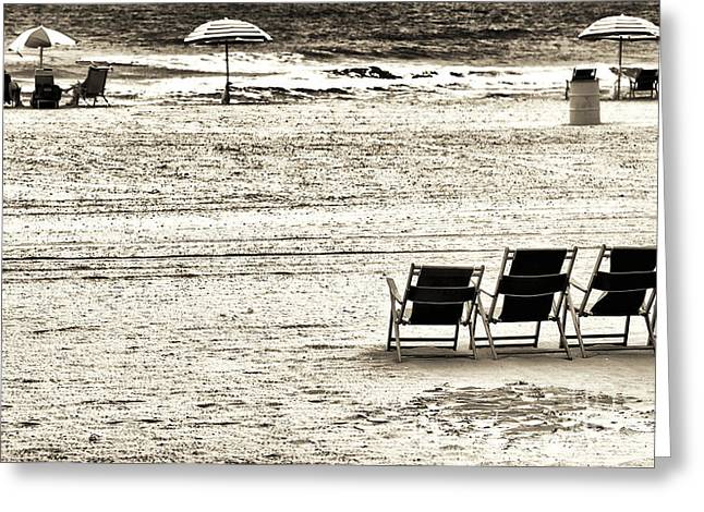 Seats On The Beach Greeting Card by John Rizzuto