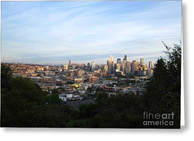 Seattle Pyrography Greeting Cards - Seattle Afternoon 2 Greeting Card by Sean Paradise
