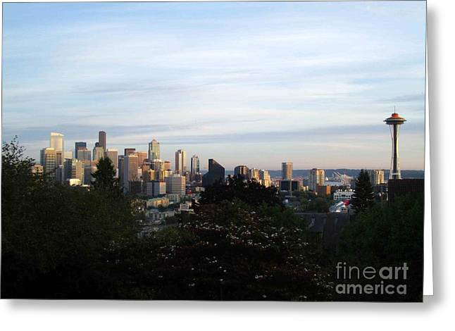 Seattle Pyrography Greeting Cards - Seattle Afternoon  Greeting Card by Sean Paradise