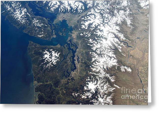 North Vancouver Greeting Cards - Seattle And Vancouver, North America Greeting Card by NASA / Science Source