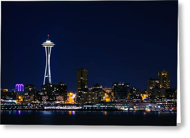 Alki Beach Greeting Cards - Seattle at Night Greeting Card by Rich Leighton