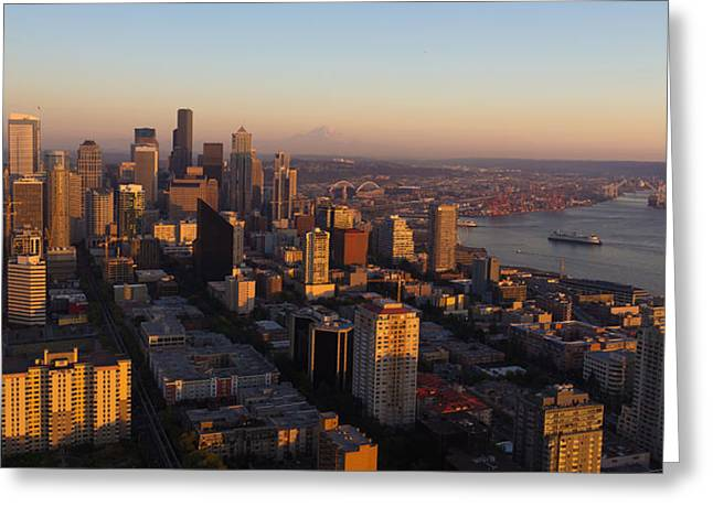 Office Space Greeting Cards - Seattle Blue Hour Greeting Card by Heidi Smith