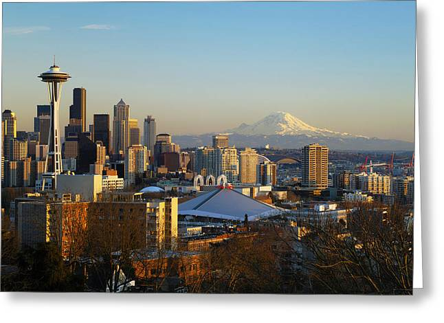 Seattle Skyline Greeting Cards - Seattle Cityscape Greeting Card by Greg Vaughn - Printscapes