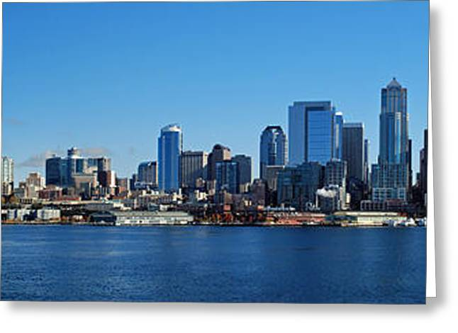 Seattle Photographs Greeting Cards - Seattle Downtown Skyline Greeting Card by Twenty Two North Photography