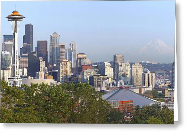 Seattle Photographs Greeting Cards - Seattle skyline and Mt. Rainier. Greeting Card by Gino Rigucci