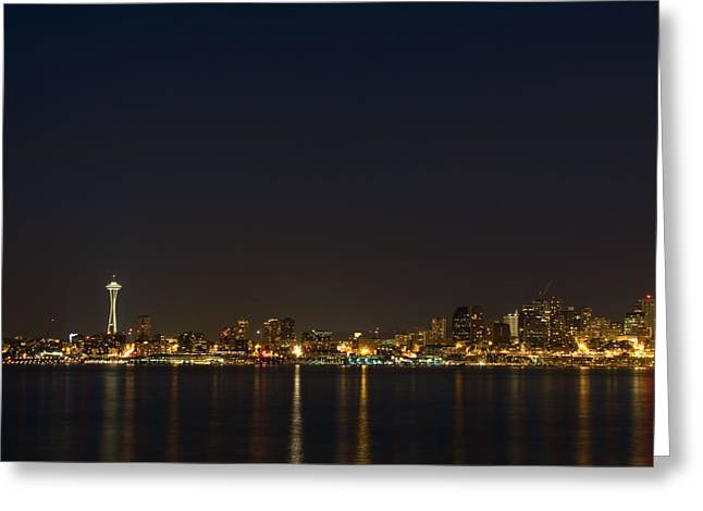 Office Space Photographs Greeting Cards - Seattle Skyline at Night Greeting Card by Stacey Lynn Payne