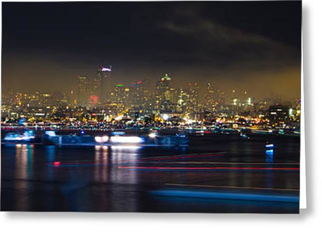 Seattle Skyline Firework Panorama Greeting Card by Dmitry Grekov