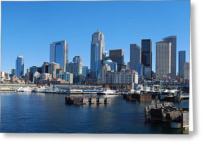 Seattle Photographs Greeting Cards - Seattle Skyline from Puget Sound Greeting Card by Twenty Two North Photography