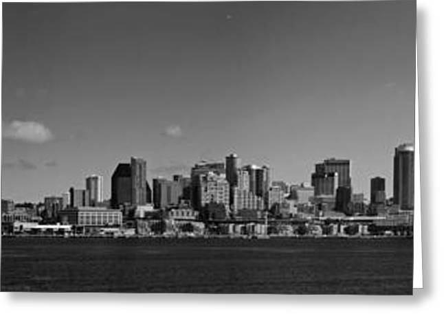 Seattle Photographs Greeting Cards - Seattle Skyline in Black and White Greeting Card by Twenty Two North Photography