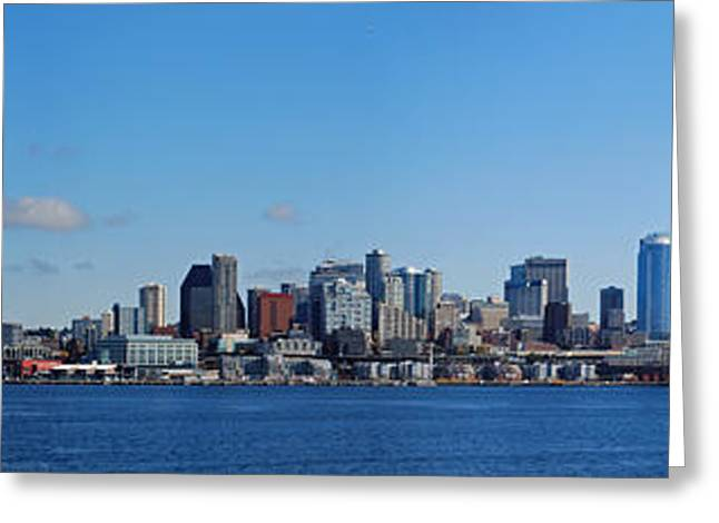 Seattle Photographs Greeting Cards - Seattle Skyline Panorama Greeting Card by Twenty Two North Photography