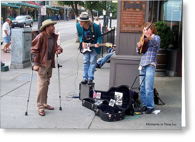 Color_image Greeting Cards - Seattle Street Music Greeting Card by Glenn McCurdy