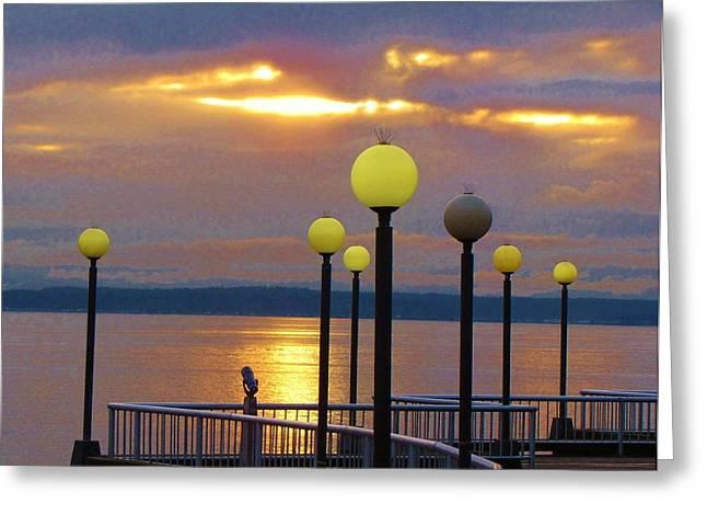 Seattle Sunburst Greeting Card by Feva  Fotos