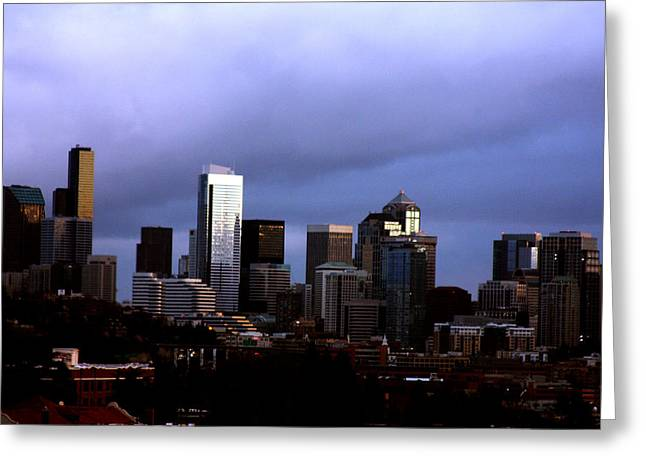 Seattle Skyline Framed Prints Greeting Cards - Seattle Sunset Greeting Card by Marie Jamieson