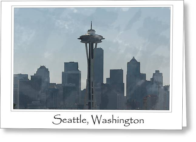 Office Space Digital Greeting Cards - Seattle Washington Skyline Greeting Card by Brandon Bourdages