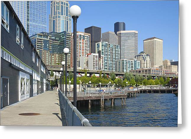 Alaskan Architecture Greeting Cards - Seattle waterfront promenade. Greeting Card by Gino Rigucci