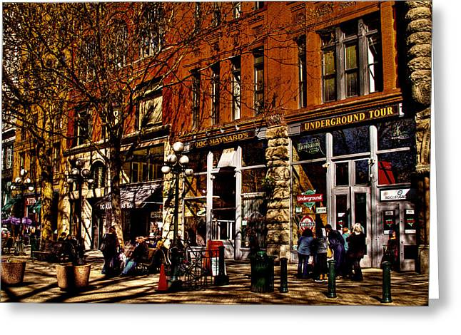 Pioneer Square Seattle Greeting Cards - Seattles Underground Tour Greeting Card by David Patterson