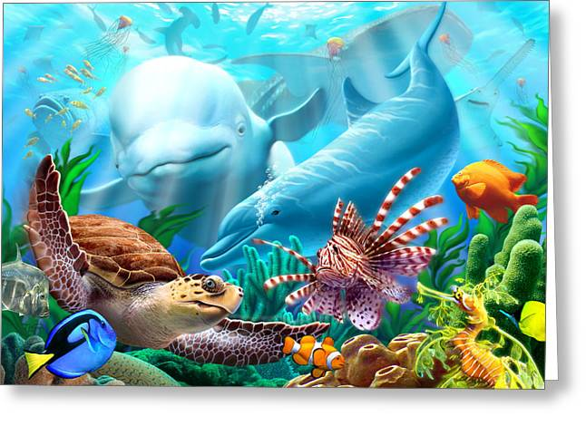 Shark Digital Art Greeting Cards - Seavilians Greeting Card by Jerry LoFaro