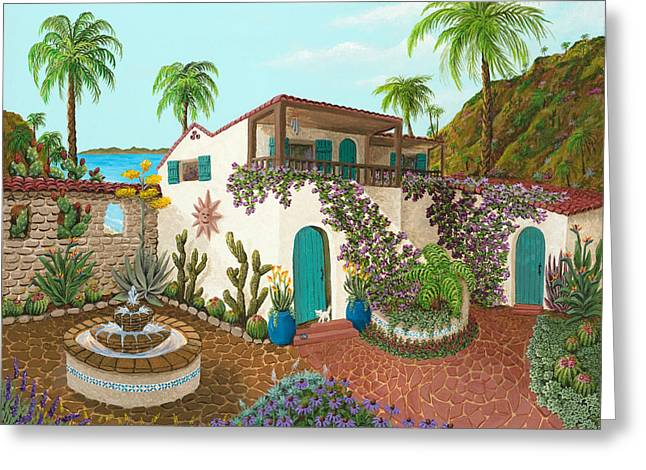 Cat Prints Greeting Cards - Secluded Paradise Greeting Card by Katherine Young-Beck