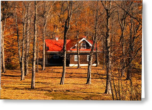 Secluded Red Roof Cottage In An Autumn Scene Greeting Card by Chantal PhotoPix