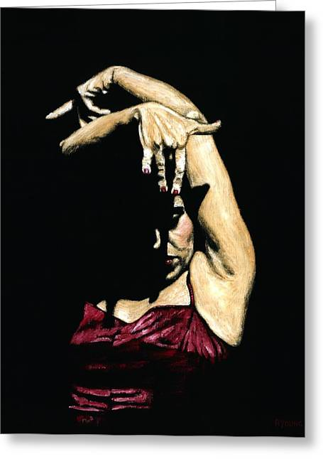 Red Dress Greeting Cards - Seclusion del Flamenco Greeting Card by Richard Young