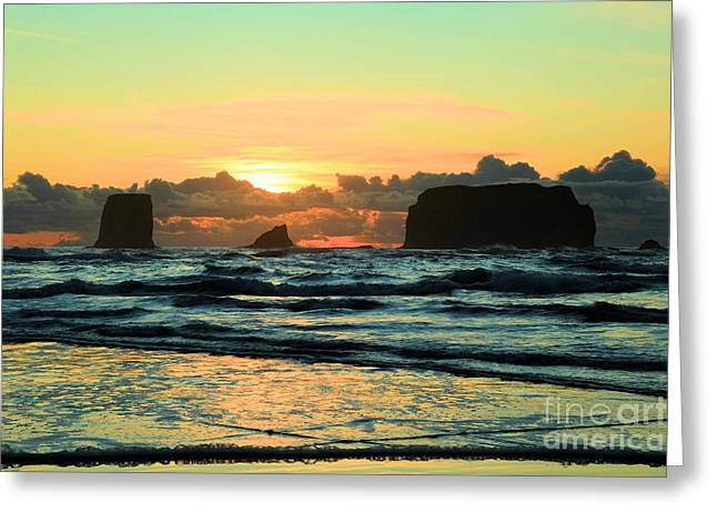 Forks Washington Greeting Cards - Second Beach Sea Stacks Greeting Card by Adam Jewell