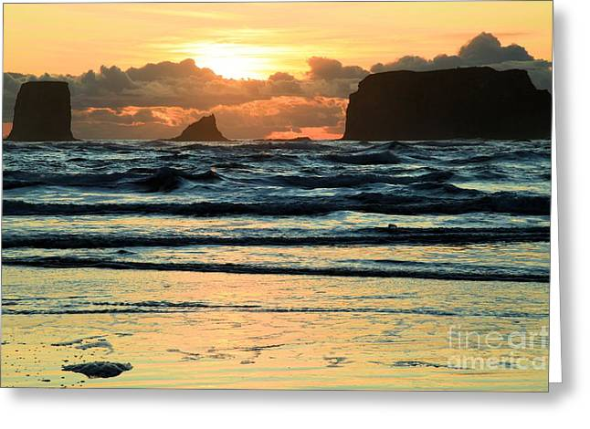 Forks Washington Greeting Cards - Second Beach Sunset Greeting Card by Adam Jewell