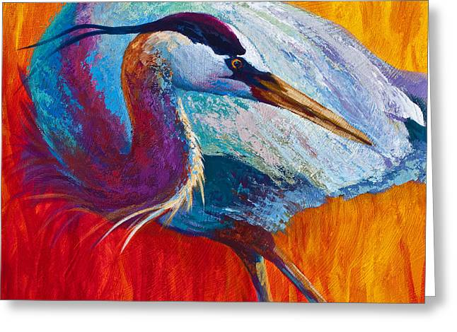 Second Glance - Great Blue Heron Greeting Card by Marion Rose