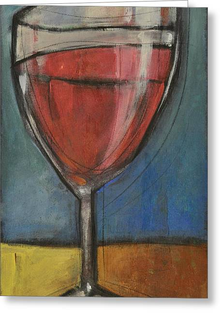 Stylized Beverage Greeting Cards - Second Glass Of Red Greeting Card by Tim Nyberg
