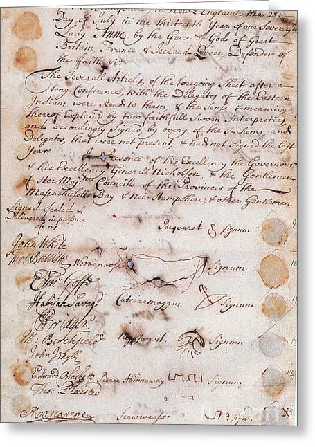 Massachusetts Bay Colony Greeting Cards - Second Treaty Of Portsmouth, 1714 Greeting Card by Photo Researchers