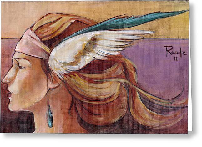 Headdress Greeting Cards - Secondary Wings Left Greeting Card by Jacque Hudson