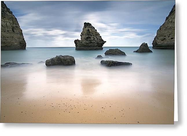 Beaches Reliefs Greeting Cards - Secret beach Greeting Card by Jorge  Fonseca