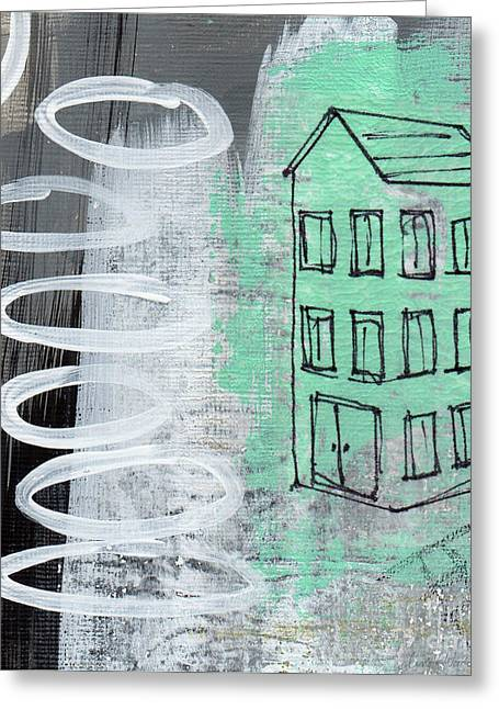 White House Mixed Media Greeting Cards - Secret Cottage Greeting Card by Linda Woods