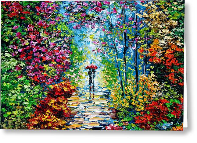 Original Oil Paintings Greeting Cards - Secret Garden Oil Painting - B. Sasik Greeting Card by Beata Sasik