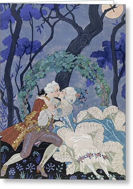 Moonlight Scene Paintings Greeting Cards - Secret Kiss Greeting Card by Georges Barbier