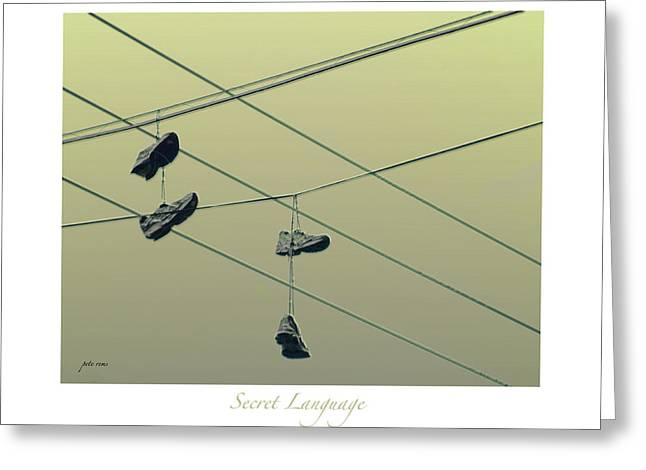 High Top Tennis Shoes Greeting Cards - Secret Language Greeting Card by Pete Rems