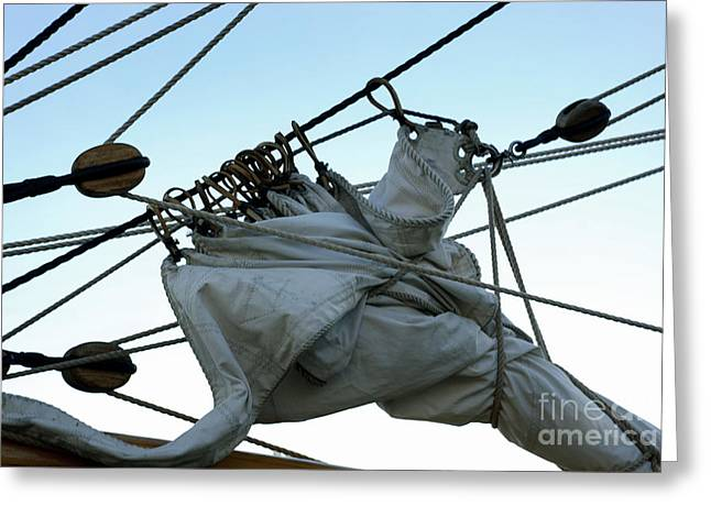 Square Rigger Greeting Cards - Secured Sail Greeting Card by John  Fix