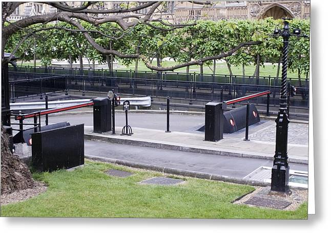 Terrorism Greeting Cards - Security Barriers At Houses Of Parliament Greeting Card by Mark Williamson